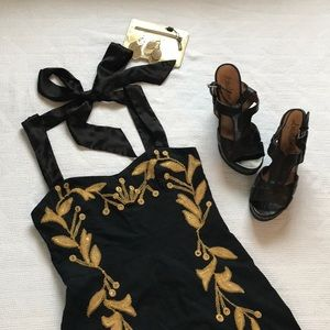 Free People Black dress w gold embroidery - Prom!